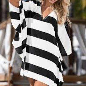 VENUS tunic dress cover up Black White Women's S/M